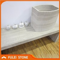Natural White wood marble commercial bathroom sink countertop