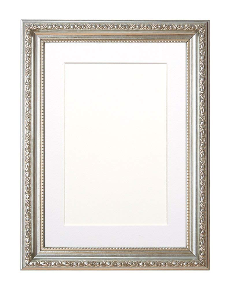 "Paintings Frames Mounted Ornate Shabby Chic Picture/Photo/Poster Frame With An MDF Backing Board Silver Frame With White Mount 7""X5"" For 5"" X3.5 Picture"