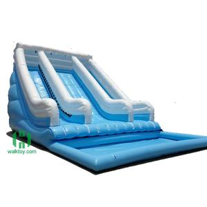 Top quality 0.55mm pvc inflatable blue stair slide giant water slide with pool for sale