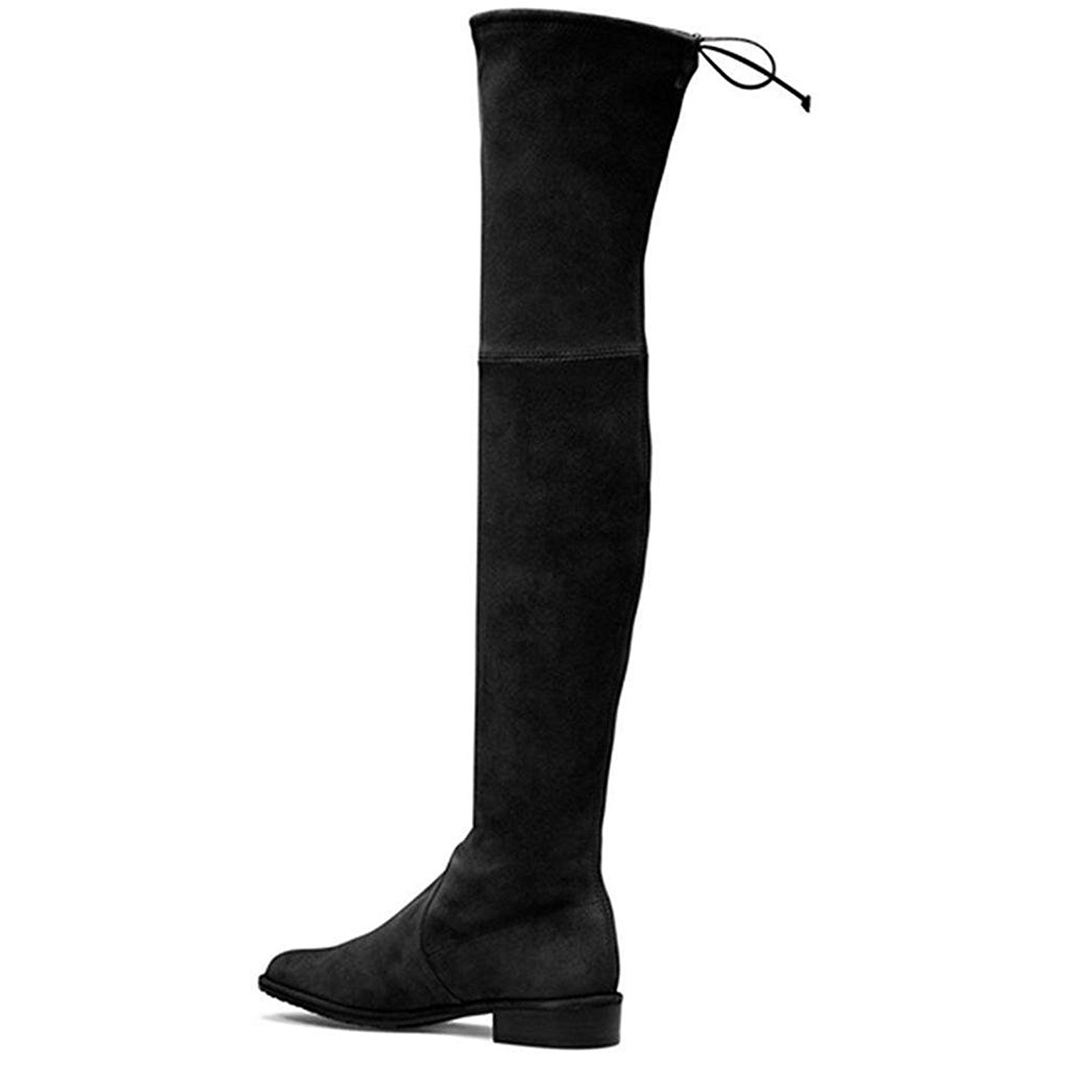 e093ea8dfd7e40 Get Quotations · WANG Ladies Elastic Boots Over Knee Boots Comfortable Flat  Boots Women's Suede Over Knee Stretch Boots