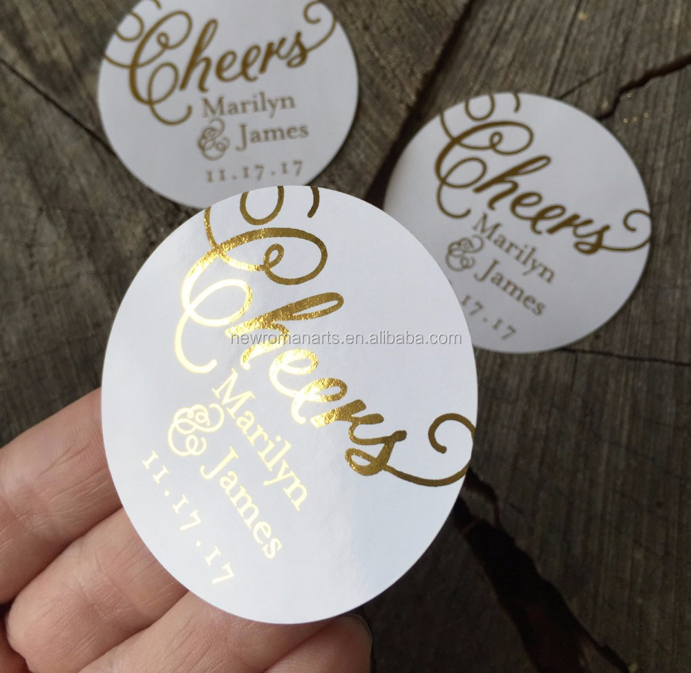 Rose Gold Foil Cheers Calligraphy Wedding Seal Stickers with Competitive Price