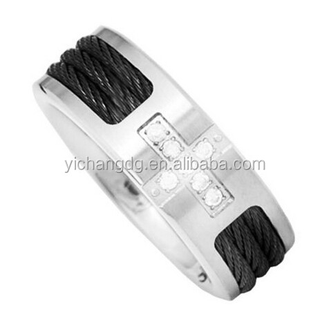 8mm Black Steel Cable Inlay Titanium Band Round Cubic Zirconia Cross Men's Wedding Ring