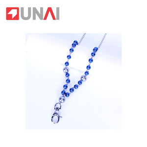 Blue pearl chain long necklace multifunctional mobile phone lanyard