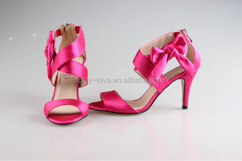 Bs854 Hot Pink High Heel Bridal Wedding Shoes Party Sandals - Buy ...