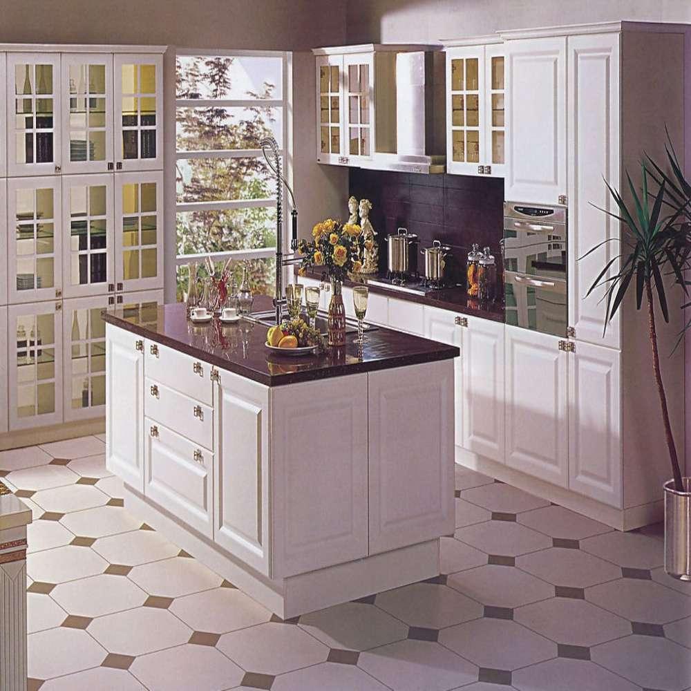 Eenvoudige stijl wit massief houten keukenkast keuken kasten ...