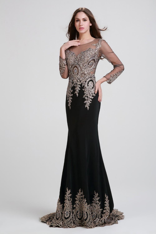 Designer Long Sleeve Black Dresses