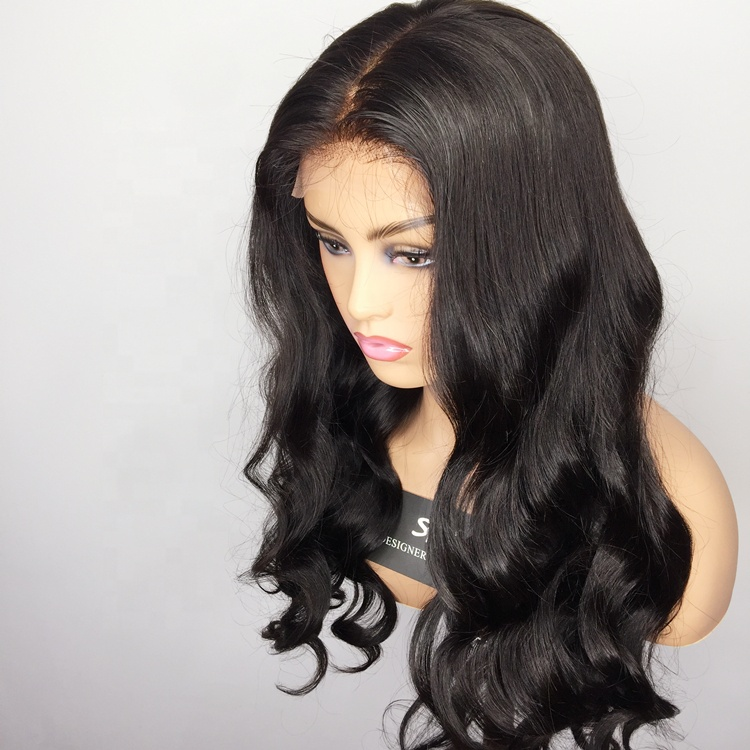 Купить со скидкой 100% human hair indian lace front wigs without bangs body wave pre-plucked lace frontal wigs with ba