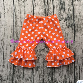 8cb7ff0f2b966 Orange polka dot baby trousers little girls double ruffle capri pants  cotton knitted kids icing leggings