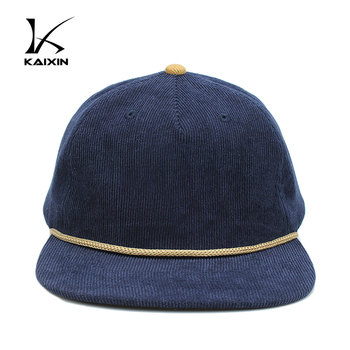 Custom Blue Blank Plain Unstructured Corduroy 5 Panel Cap Rope Hat ... 2b44915e3af