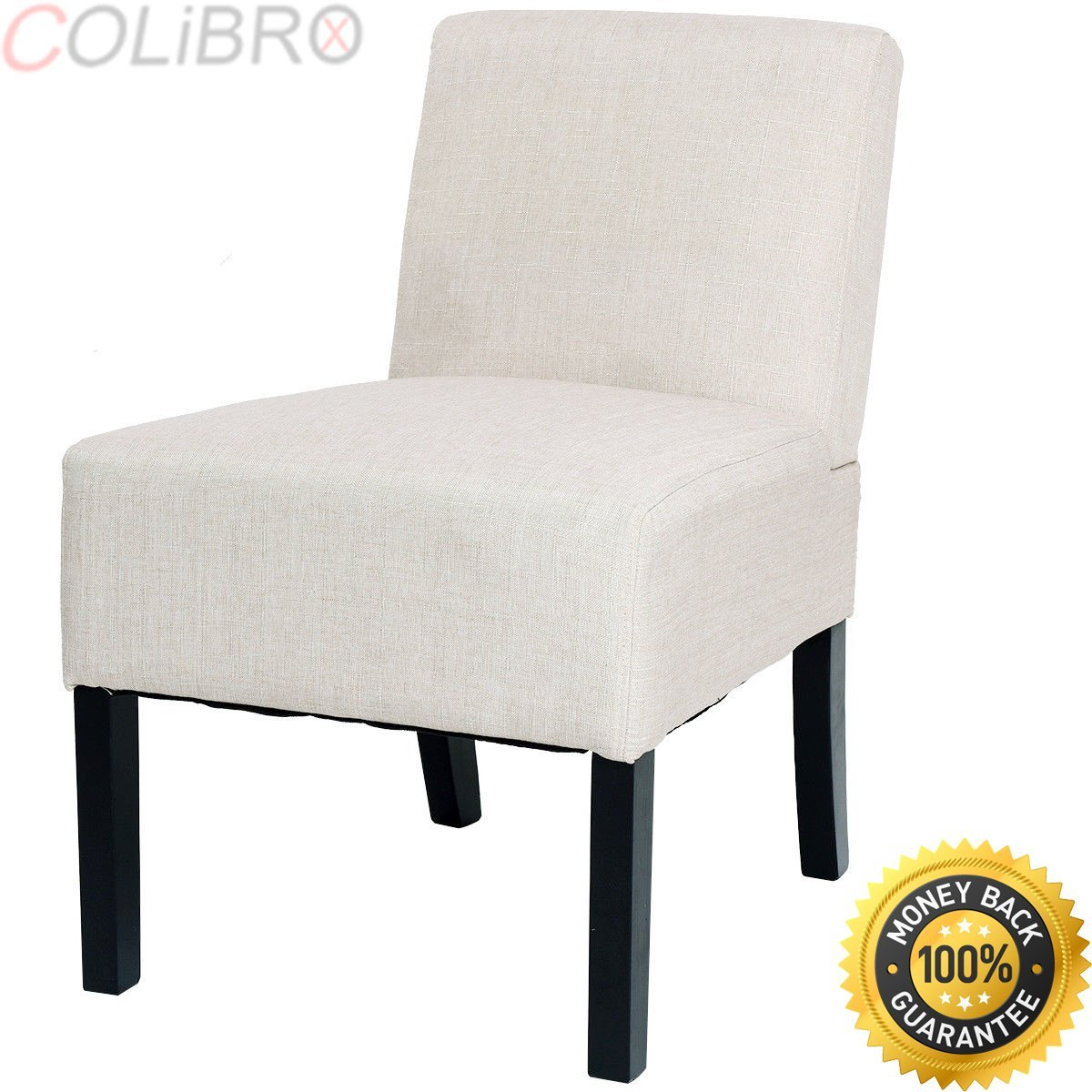 COLIBROX--Accent Chair Armless Contemporary Dining Chair Upholstered Seat Furniture Beige. armless accent chair. modern armless chair.armless accent chairs living room amazon.beige living room chair.