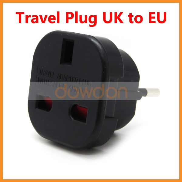 Universal UK to EU 2 P + E Grounded Plug Adapter for Germany French Poland Netherlands