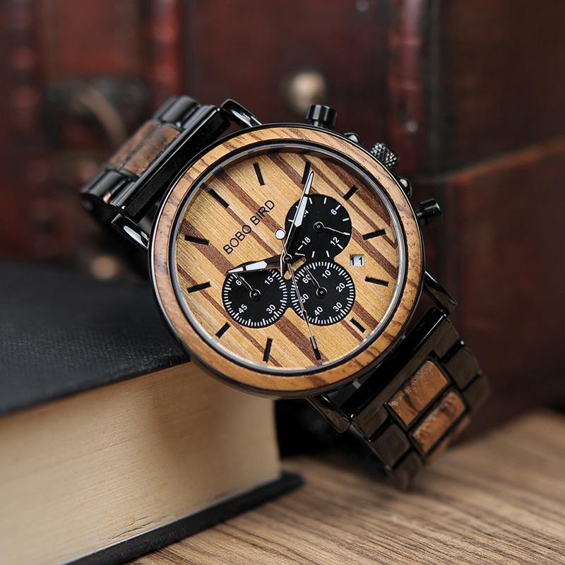 BOBO BIRD China Wholesale Top Brand Chronograph Japan Quartz Movement Relojes Hombre With Wood box, Picture