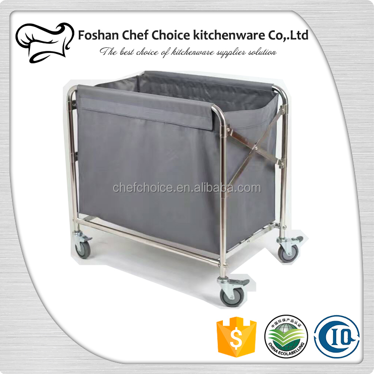 Stainless Steel Round Tube Hospital Linen Trolley Folding Housekeeping Laundry Linen Trolley X Frame Nylon Bag