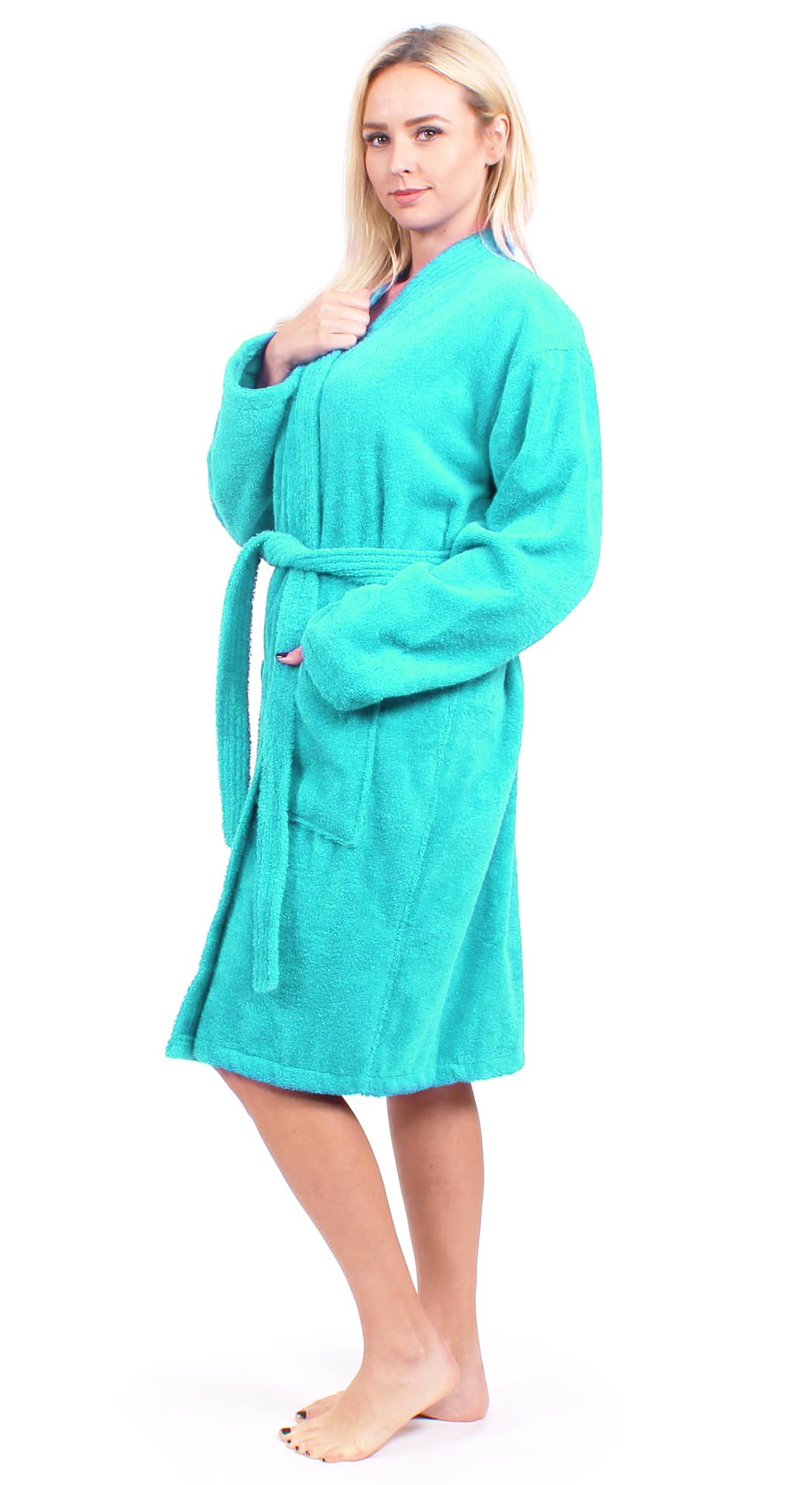 c3b48b772a Get Quotations · Turkuoise Women s Terry Cloth Robe 100% Premium Turkish  Cotton Terry Kimono Collar