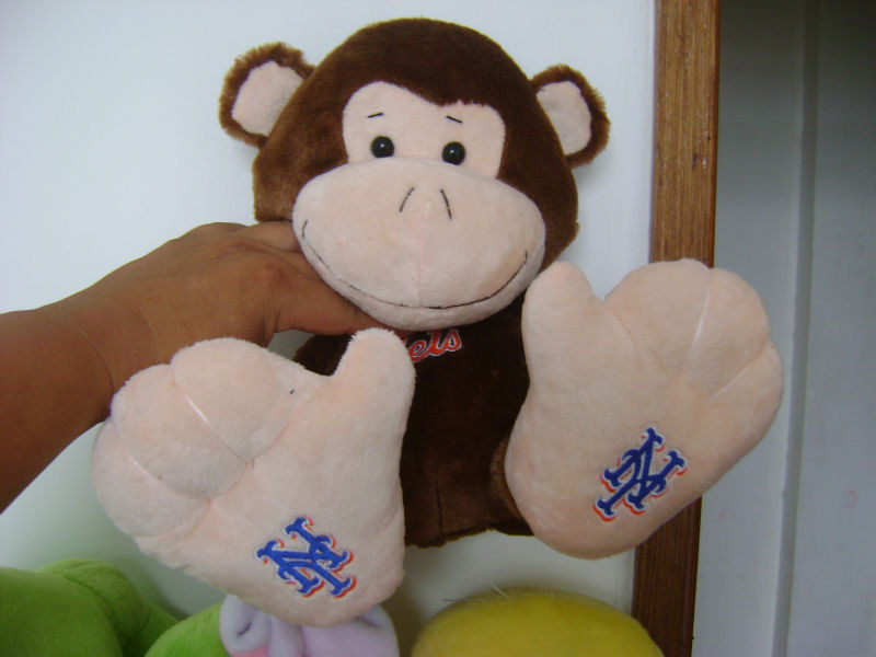 28cm promotional customized stuffed plush monkey farm animals with embroidered letters for Easter festival