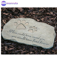 Pet Memorial Stone Pet Paw Print Devotion Painted Polystone Stepping Stone