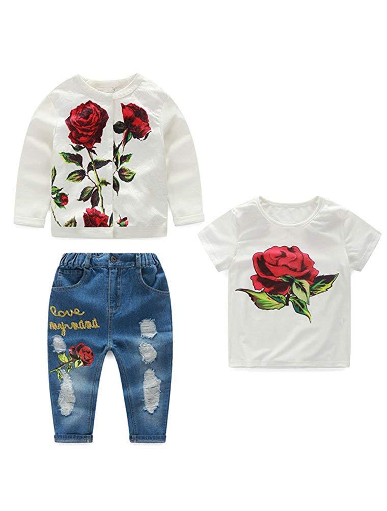 Abolai Kids Girls' 3 Pcs Clothing Set Long Sleeve Top+T-shirt+Demin Pant