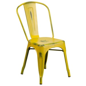 Factory supply Colorful industrial metal dining chairs metal lawn chair Dining Stacking Metal Chairs