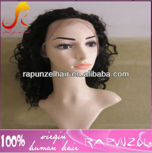 16inch Curly Malaysian full lace human hair wigs