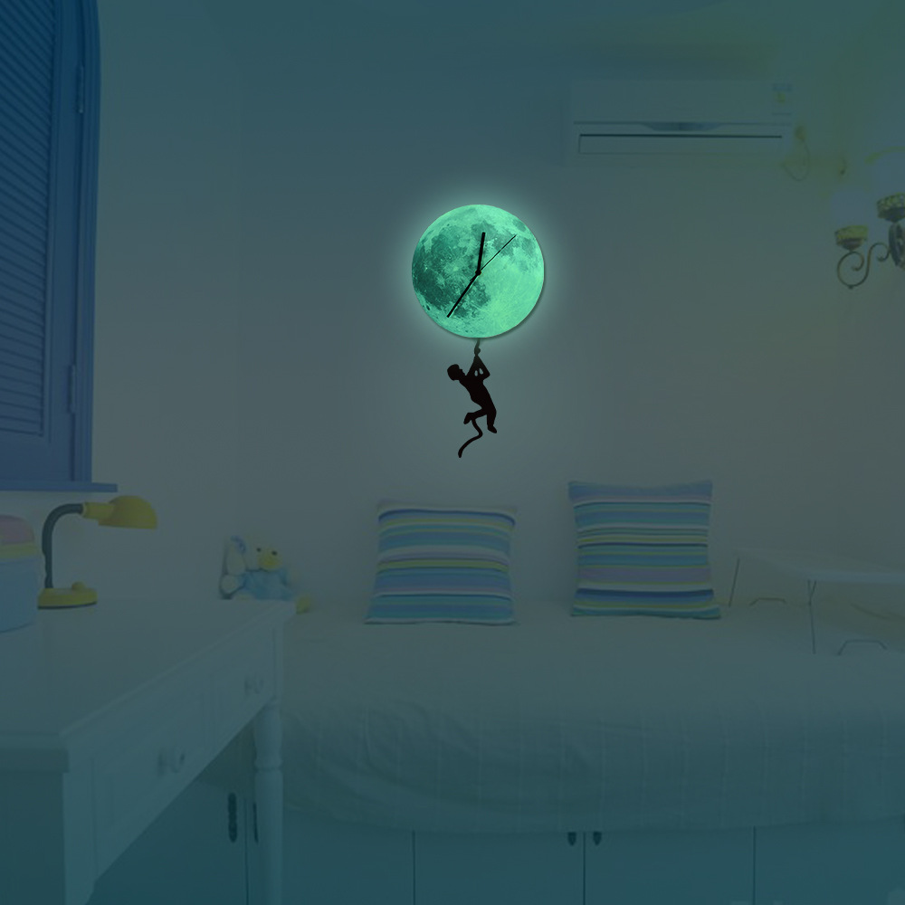 boy swing pendulum luminous moonlight wall clock lighted moon dial 3D Acrylic Night Lighting Clocks for Gift