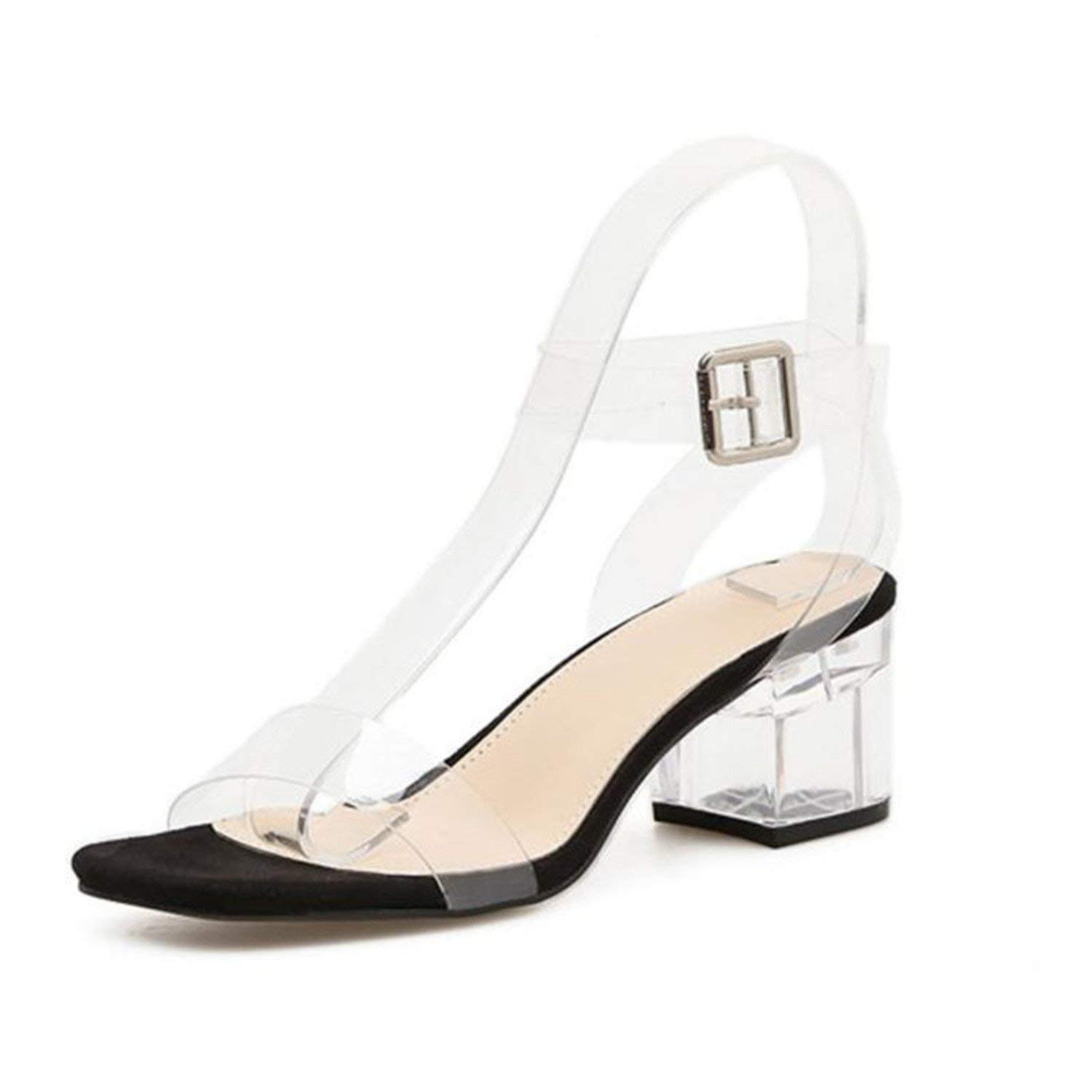 Get Quotations · Huntty Women s Shoes Transparent Sandals Clear Heels for Women  Shoes Jelly 9a96403326ee