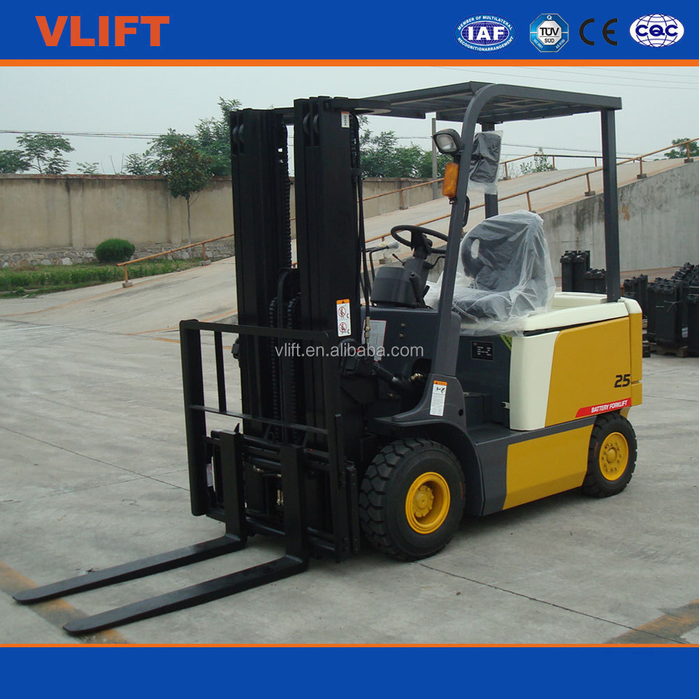 2.5 Ton Electric Battery Forklift Truck Lifting Height 4m With Full Free Mast
