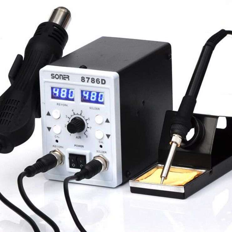 Hot Air SONER-8786D 2 In 1 Rework Station จอแสดงผลแบบ Dual SMD Rework Soldering Station
