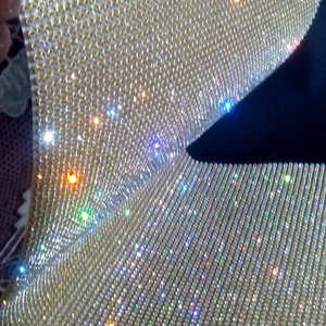 3mm Clear crystal Hot Fix Diamante Rhinestone Mesh,Hotfix Rhinestone Trimming with gold base
