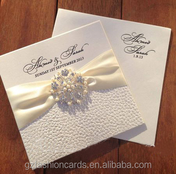 Embossing Wedding Invitation With Ribbon And Buckle Embossed Blank Invitations Jeweled