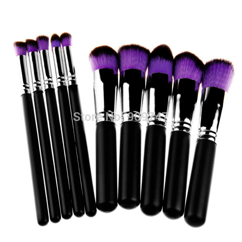 Professional 10pcs Double color hair Make UP Cosmetic Foundation blush Liquid brush Makeup Brushes tools Kits