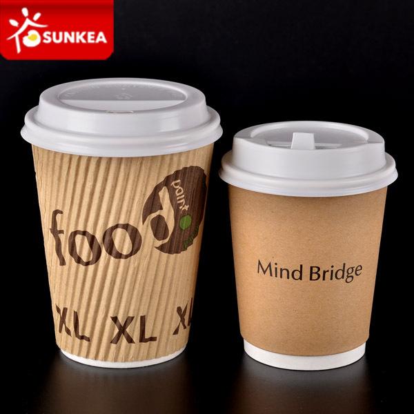 d406d86a7 Copo de café com parede de papel com ondulação descartável estampa  personalizada