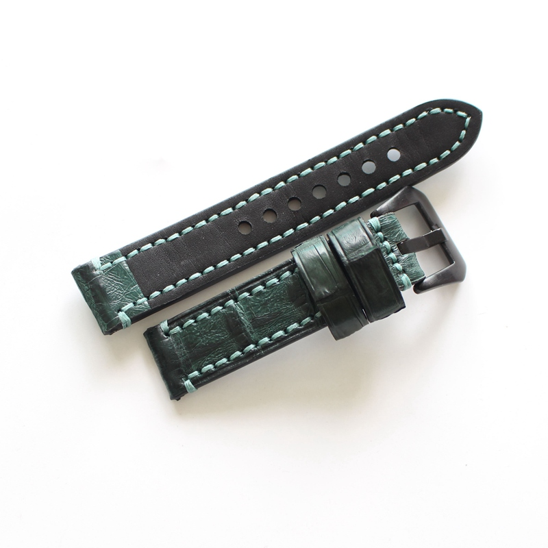 22cm   20cm  Handmade Genuine Crocodile Leather Watch Strap
