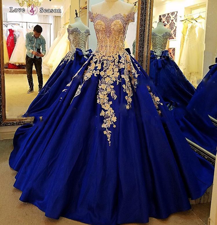 Venta al por mayor vestidos de novia de color azul rey-Compre online ...