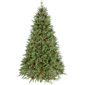 7 Ft Prelit Premium Spruce Hinged Artificial PE Christmas Tree With 550 LED Lights
