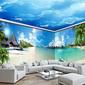 3d Hd 1080p Seascape Scenery The Whole House Mural And The Bule Sky