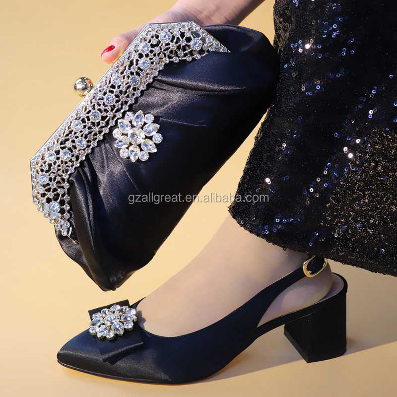 AB7771 Yellow Womens shoes made in china high heels with matching bags Shining Crystal real leather Bride shoes and purse sets