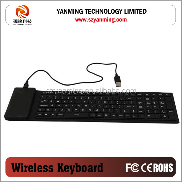 Flexible Rolling colorful silicone keyboard for tablet