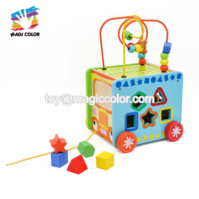 Wholesale 6 sides educational wooden activity cube toy for toddlers W11B154