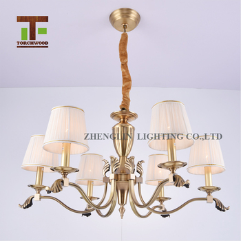 Multi Lamp Head Copper Fabric Dining Room Philippines Lighting Chandelier