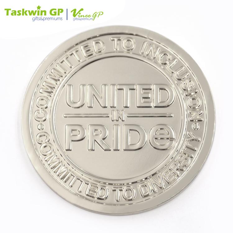 Elegantly Designed Unique Silver Plating Embossed Letter Challenge Coin dec6cea296e45
