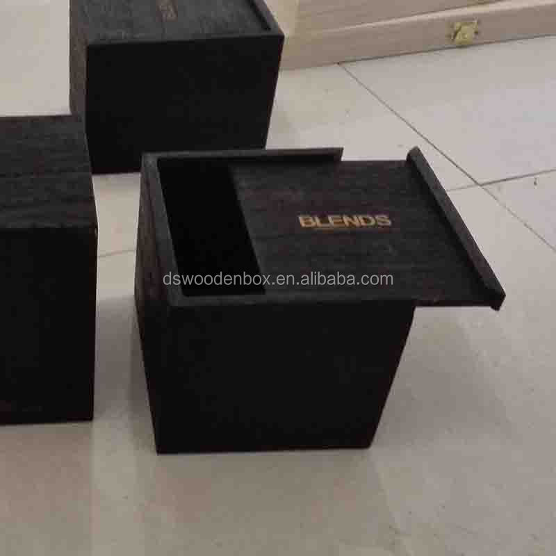 Black Stained Square Slide Top Wooden Keepsake Box