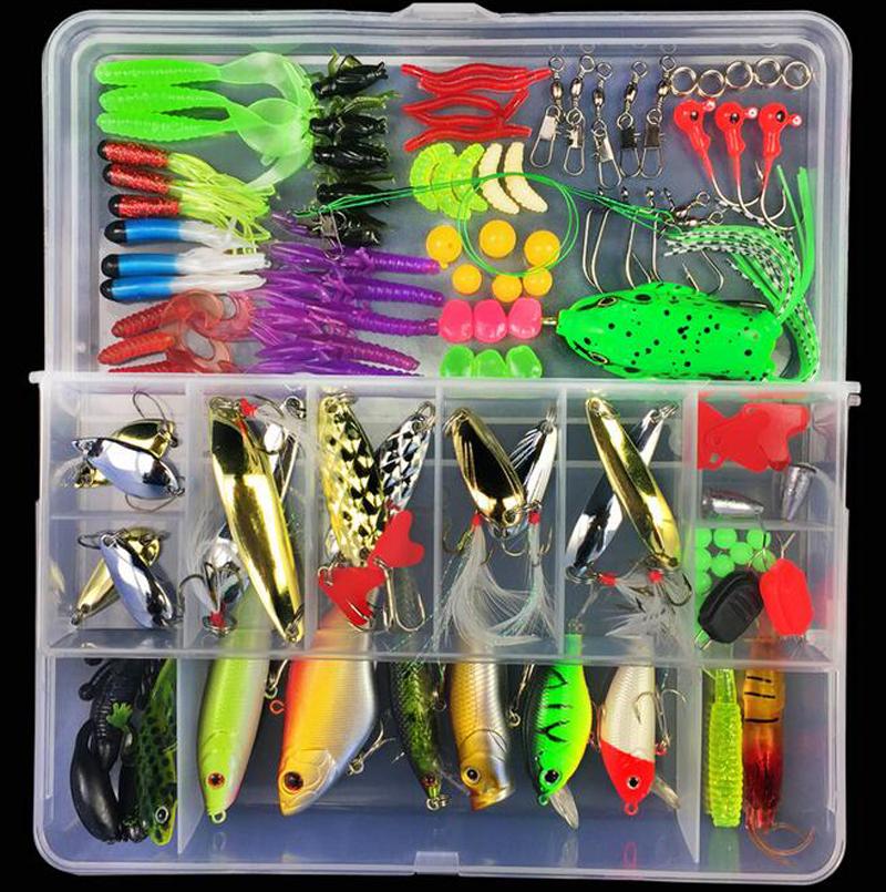 Amazon Customized Fishing Tackle Box Hard Soft Fishing Lure Accessories Hooks Swivels Fishing Lures Kit combo, Vavious colors
