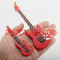 Miniature red guitar and pins indoor decoration musical instrument wooden craft gift for Holiday Supplies