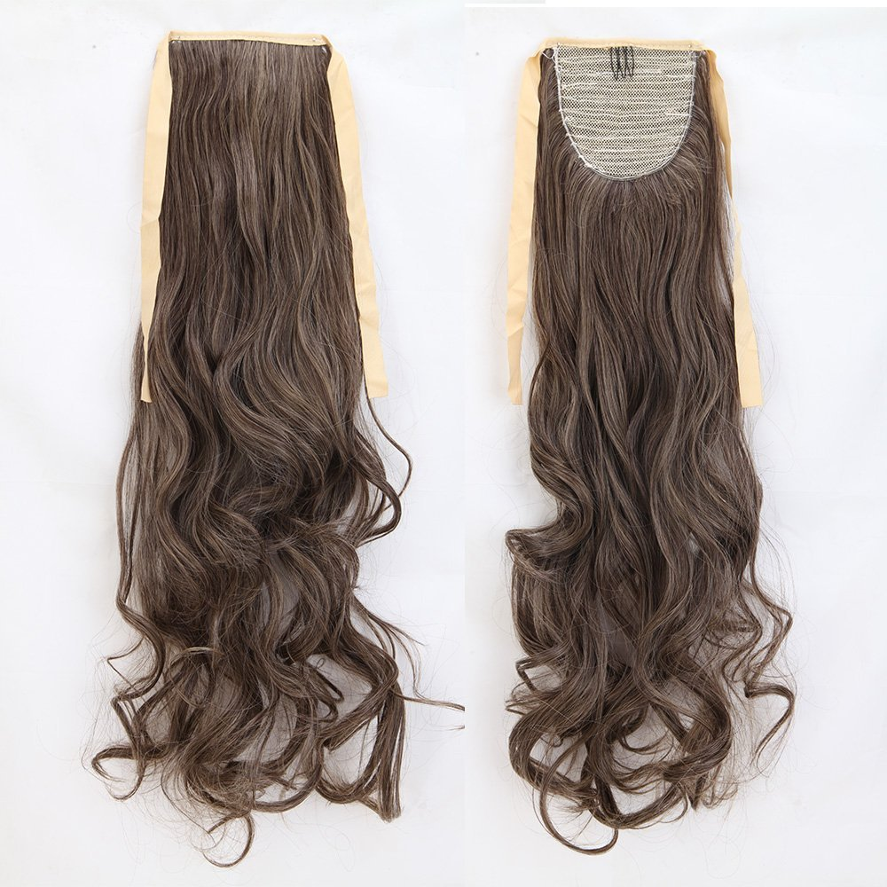 Long Curly Dark Brown Mix Ash Blonde Binding Ponytails 18 Inches Clip on Ponytail Hair Extensions Hairpiece Ribbon Pony Tail Extension