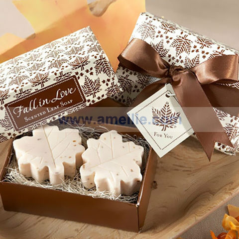 AS004 Fall Leaf Design White Color bath soaps names