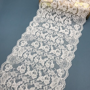2018 new design hot sales white 20cm curly full lace trimming, flower elastic lace trim for garments