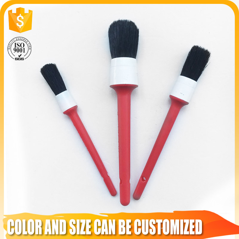 red plastic handle natural bristle pointed round paint brush