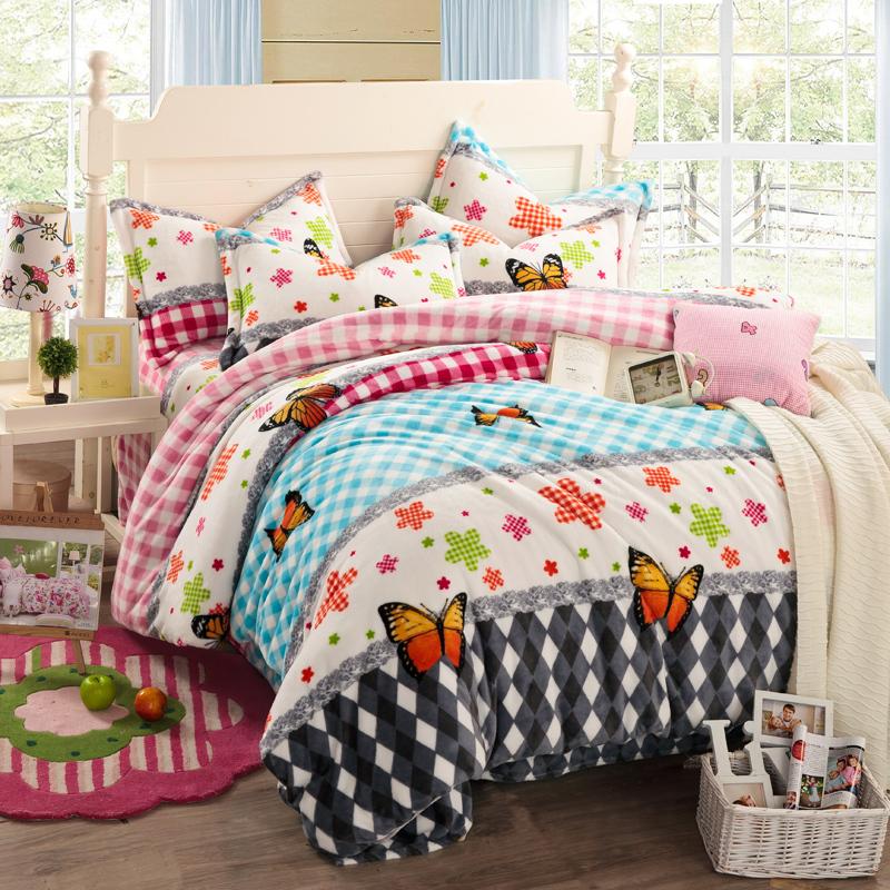 schmetterling tr ster setzt florale bettw sche plaid betten setzt m dchen bettw sche modernen. Black Bedroom Furniture Sets. Home Design Ideas