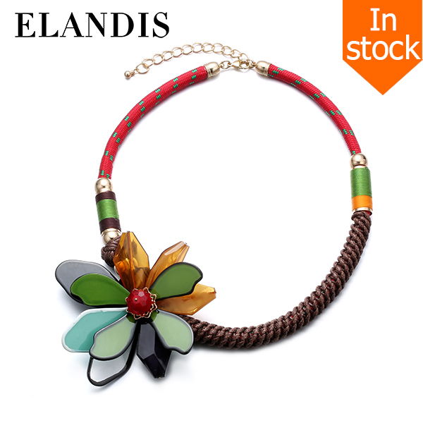 E-ELANDIS <strong>accessories</strong> for women necklace 2016 unique boho design handmade flower necklace NL13537