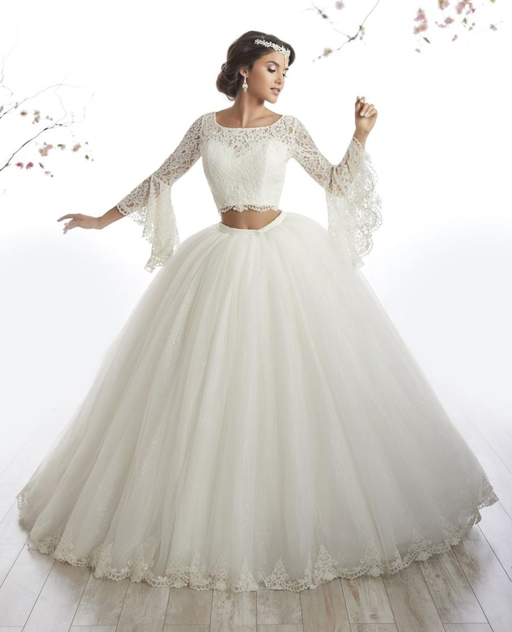 2pcs Corsetskirt White Lace Tulle Ball Gowns Long Sleeve Quinceanera Dresses 2018 Custom Made Sweet 16: Sweet Ball Gown Wedding Dress Corset At Reisefeber.org